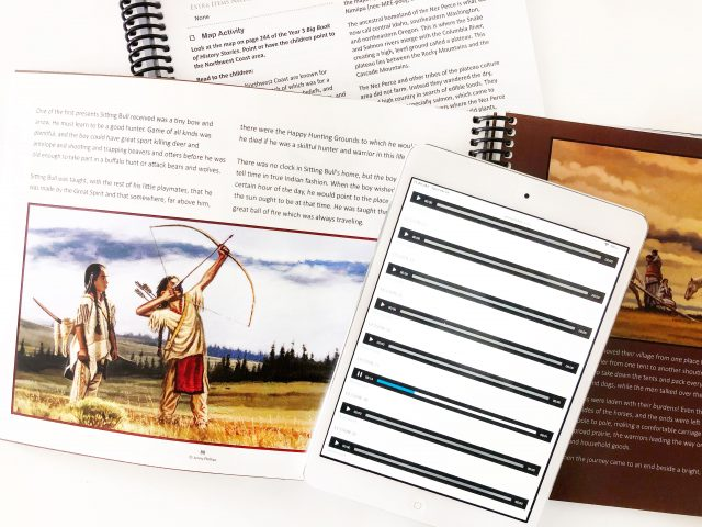 History Year 3 Open Course Book with Audio Files on an iPad