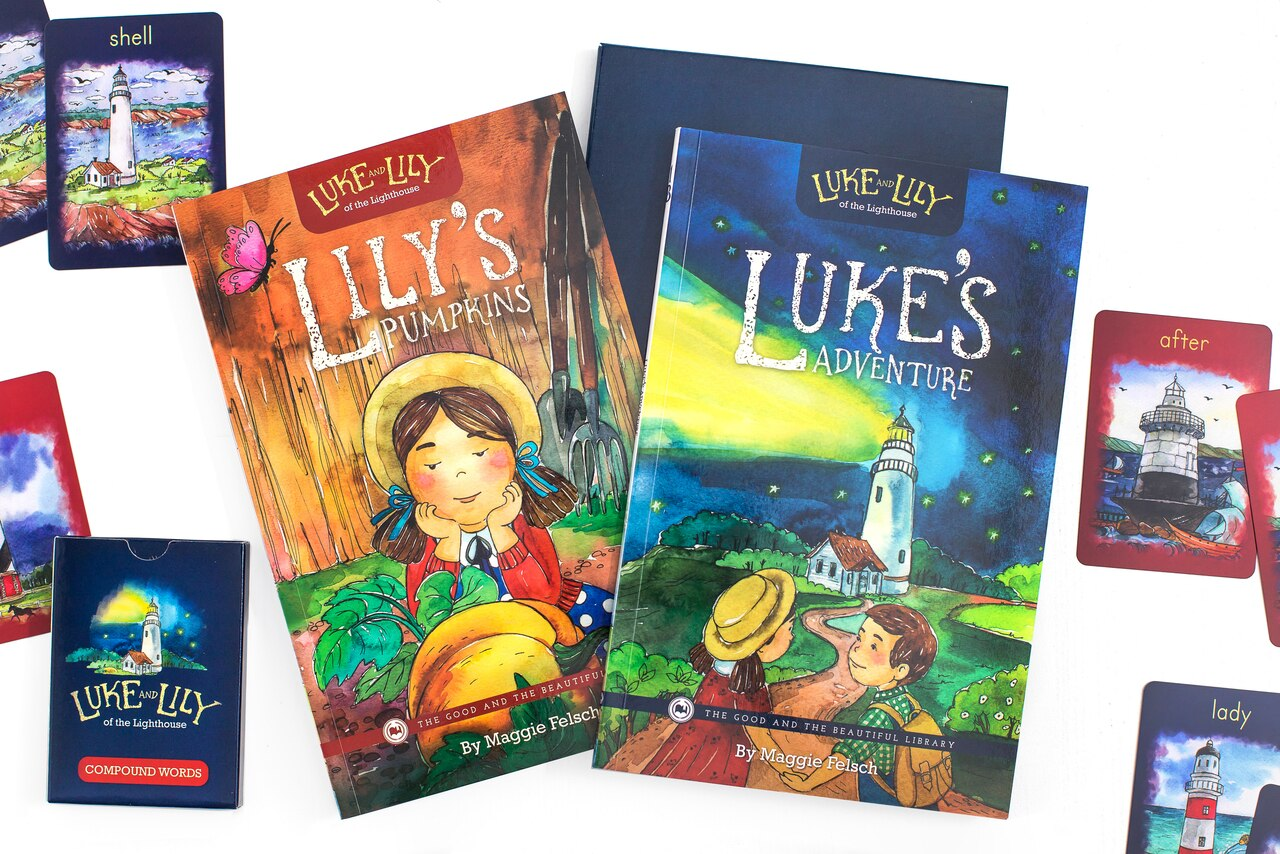 The Luke and Lily of the Lighthouse: Books and Compound Words memory game teaches compound words in a fun, engaging way