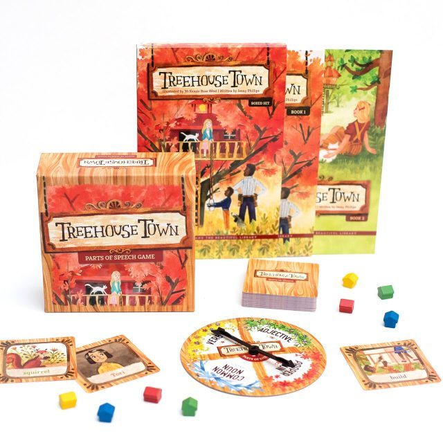 Treehouse Town game. A fun boardgame for kids teaching grammar including 4 basic parts of speech. Includes cards and spinner.