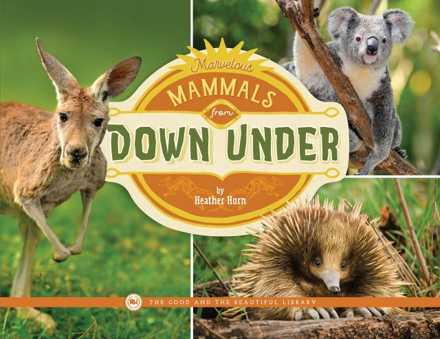 From The Good and the Beautiful library, Marvelous Mammals From Down Under by Heather Horn. A book about koalas, kangaroos, wombats, and other Australian animals.