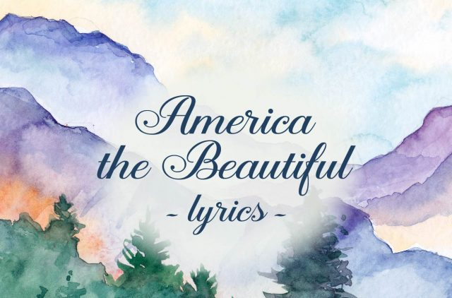 """Landscape Watercolor mountains with words """"America the Beautiful"""" overlay"""