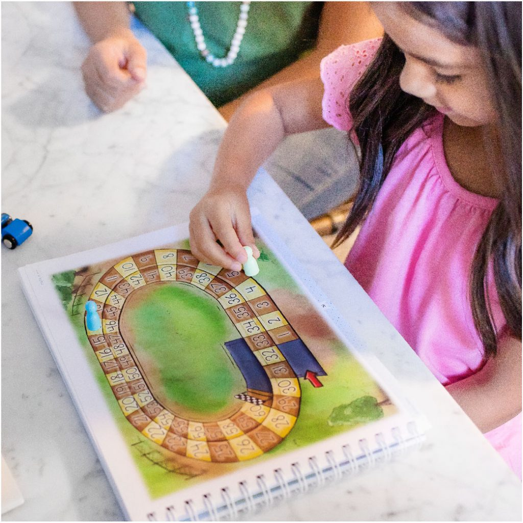 girl playing math lesson game